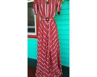Striped Vintage 1940s Depression Era Wartime Dress