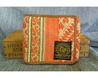 Vintage Polo Ralph Lauren Southwest Chain Folio Wallet Western Wool Fabric Indian Chief Patch