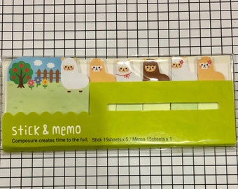 Cute Sticky Notes supplies, ALPACA memo marker,  Stick & memo marker, Post-it Sticker Marker Tabs, Cute stationery supplies
