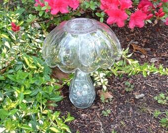Glass mushroom. Glass totem.  Garden totem. Garden mushroom.