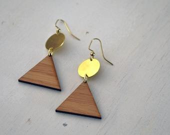 Triangle Drop Earrings // Brass // Disc