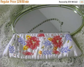 30% Off Clearance Sale Vintage Pink Flower-Floral Beaded Clutch Purse-White Satin