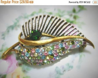 30% Off Clearance Sale Vintage Coro Signed Multi-Color AB Stone Brooch-Pin
