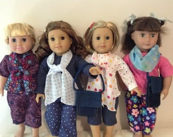 American Girl or other 18 inch doll accessories in four designs of scarves in blues,  multicolor dots, or denim shoulder bag