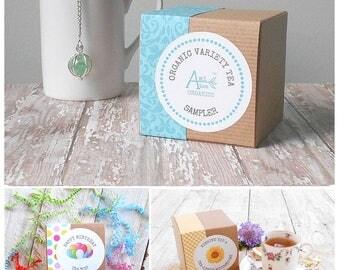 Tea Sample Gift Set, Organic, VARIETY TEA SAMPLER, Tea Bag Sampler, Organic Sampler, Tea Gift Box, Gift for Him, Tea Lover Gift, Tea Favors