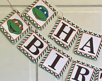TMNT INSPIRED Teenage Mutant Ninja Turtle Happy Birthday or Baby Shower Party Banner - Party Packs Available