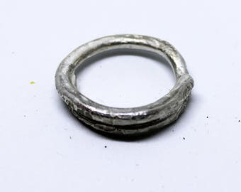 Handmade Textured Solid Hammered   STERLING SILVER 925 Fused Wire RING Soldered