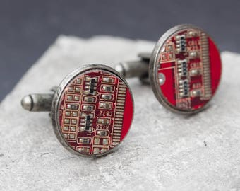 Sale Last one left - Circuit board Cufflinks with red circuit board in antiqued metal