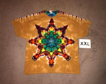 Tie Dye T-Shirt ~ Fire/Palomino Gold Mandala i_6470  in 2XL