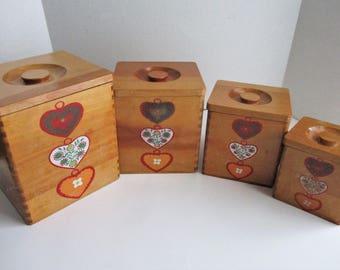 Vintage Canister Set Hearts Wood Dovetail Nesting Set of 4 Storage Boxes
