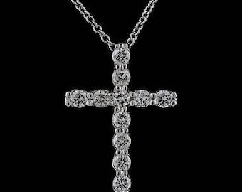 Diamond Cross Necklace, Gold Cross Pendant, Religious Symbol Necklace, Christianity Cross Without The Chain