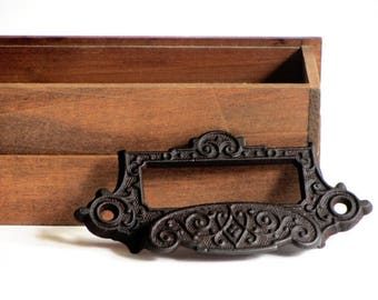 Cast Iron Apothecary Bin Pull With Label Scrolls and Flowers Holder Library Drawer Pull Eastlake Style