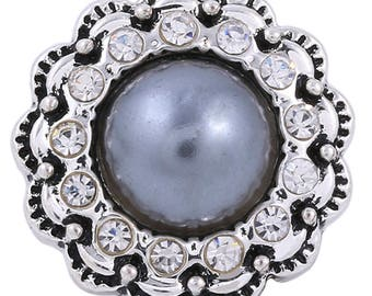 1 PC - 18MM Gray Faux Pearl Rhinestones Silver Charm for Snap Jewelry KC8653 CC3684
