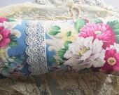 Paris Flea Market Pillow Vintage Blue Pink Roses Barkcloth Venetian Lace Ticking Stripe Romantic Cottage Shabby Chic French Farmhouse Style