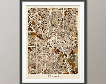 Dallas Map, Dallas Texas City Map, Art Print (3009)
