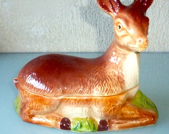 French Vintage, Michel Caugant , Ceramic Stag/Deer Tureen ,pate dish,faience