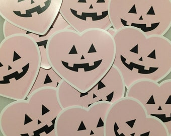Pastel jack o lantern heart sticker