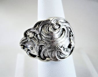 Sterling Spoon Ring, Signed Sterling Silver, Unger Bros, The Wave, Size 8 Copyright 1904