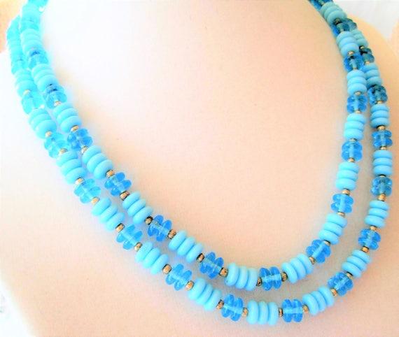 Aqua Necklace - Lucite Bead - 2 Strand Choker - Summer Sundress