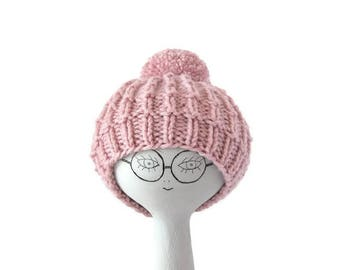 Hand Knit Baby Girl Hat, Pink Beanie With Huge Pom Pom, Winter Cozy Hat, 1 - 2 Year Old, Ready To Ship