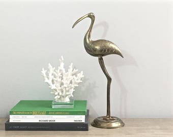 Tall Vintage Brass Heron Bird Statue Figurine Coastal Beach Lake Seaside Decor