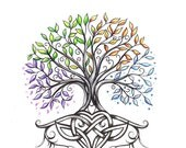 RESERVED For Beth - Custom Tattoo - Tree with the Four Seasons with Celtic Knotwork