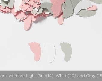 Footprint Confetti - Baby Shower Decoration - Pink and Gray Baby Shower Decorations