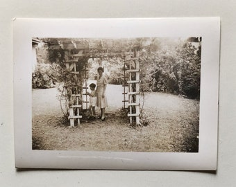 Original Vintage Photograph | Under the Arbor with Mother