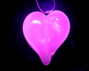 UV reactive Glass Heart Pendant, Lampwork Necklace, Hand blown Heart