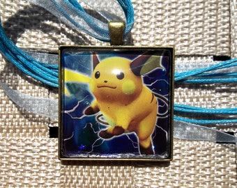 Raichu - HOLO -  Rare Glass Pendant Charm made from Trading Cards