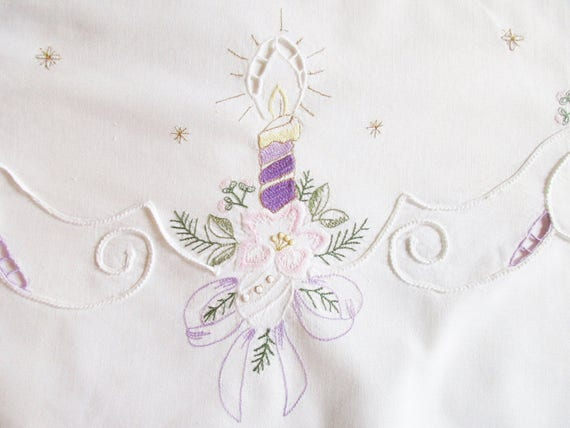 German Vintage White Christmas Cotton Tablecloth with Embroidery and Cutouts Finished with Golden Thread