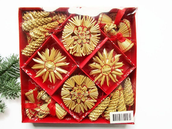 1 Box with 48 piece German Vintage Christmas Straw Star, Angel and Cone Ornaments, Advent and Christmas Home Decor for hanging