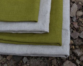 Linen Kitchen Towels Set of 4 Organic Linen Natural Grey and Olive Green