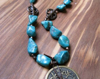 Turquoise and Chinese Feng Shui Coin Necklace