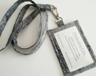 Lanyard ID Holder,  Blue and Green  Batik Cotton Clip On ID Holder with Hidden Cash Stash and Matching Lanyard