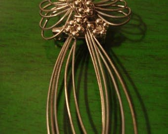 Vintage 1990s Boho Wire and Pearl Angel Pendant Brooch