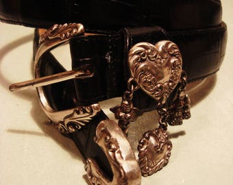 Vintage Boho Chic 1990s Black Leather Concho Charm Belt