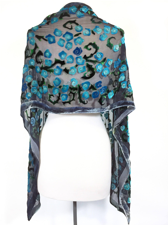 velvet scarf velvet shawl hand painted silk shawl wrap hand dyed