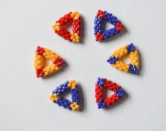 Wonder Woman Inspired Bead Woven Stitch Markers Triangles Red Yellow Blue Knitting Notions Gifts for Knitters