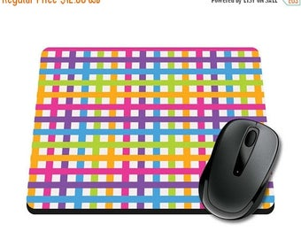 ON SALE NOW Neon Plaid Rainbow Printed Mouse Pad / Office Accessories / Desk Accessories / Mousepad / Girly Mousepad / Teacher Gift