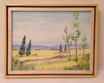 Vintage Retro Impressionist Figural Landscape Oil on Board Painting