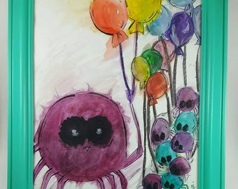 Spider painting, baby spiders, spider art