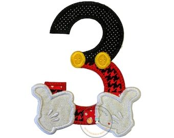 Mickey inspired iron on birthday number 3 patch