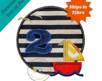 Sailboat circle birthday number 2, embroidery nautical glitter number 2, sailboat themed iron on second birthday patch, ready to ship.
