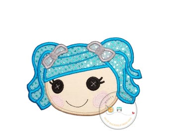 Large lala doll face with blue hair. Iron embroidered fabric applique patch embellishment-ready to ship