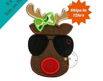 Aviator girl Christmas reindeer face with green bow - iron on embroidered fabric applique patch- Christmas holiday iron on patch, pre-made