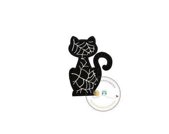 ON SALE NOW Black cat silhouette with silver metallic web pattern fabric iron on applique-Halloween black cat fabric no sew patch- ready to