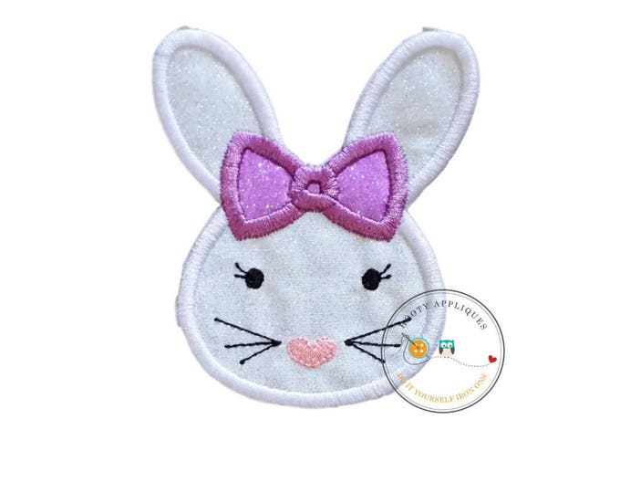 Easter bunny face with purple bow iron on for shirts, Machine embroidered iron on Easter bunny patch for girls, pre-made ready to ship
