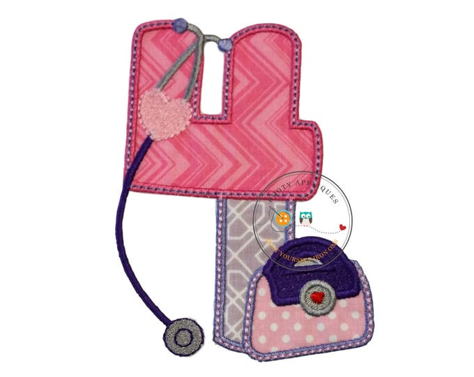 Girl doctor birthday number four - iron embroidered fabric applique patch embellishment- ready to ship