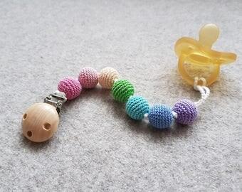 Pastel Rainbow Pacifier Clip, Dummy Chain